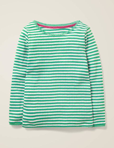 Supersoft Pointelle T-Shirt - Asparagus Green/Ivory
