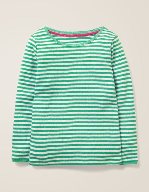 Supersoft Pointelle T-Shirt - Ivory/ Asparagus Green