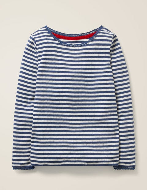 Supersoft Pointelle T-shirt - Starboard Blue/Ecru