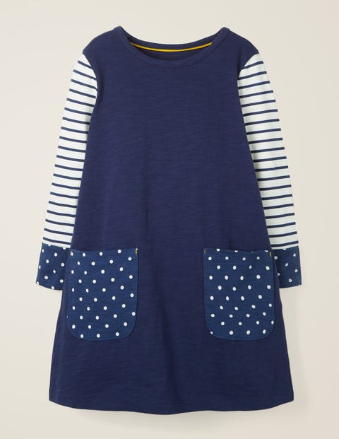 Fun Pocket Jersey Dress - College Blue/Spot