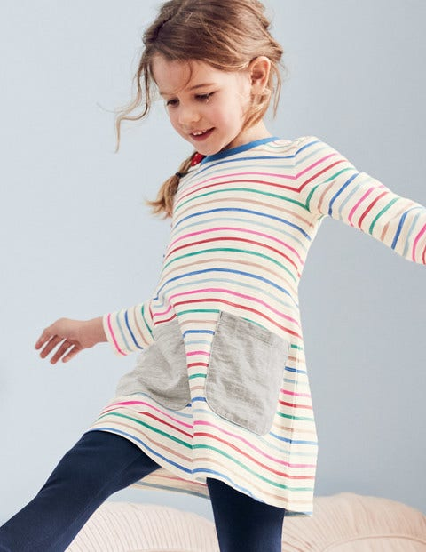 Fun Pocket Jersey Dress - Rainbow Multi Stripe
