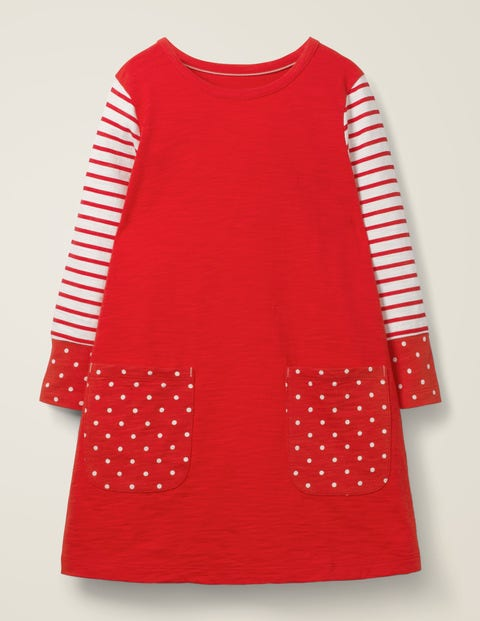 Fun Pocket Jersey Dress - Poppadew Red/Spot