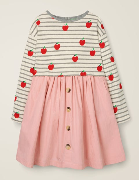 Hotchpotch Dress - Grey Marl/Ivory Apples