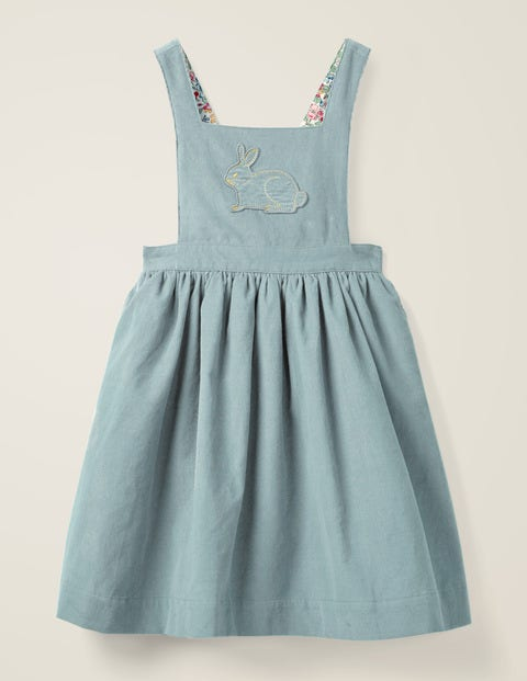 Embroidered Pinafore Dress - Breeze Blue/Bunny