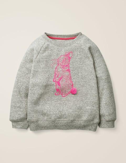Sweatshirt Mit Tierfreunde-Muster - Grau Meliert, Häschen