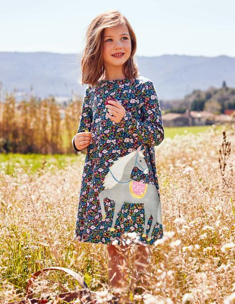 Big Appliqué Jersey Dress - Blue Flower Berry Horse