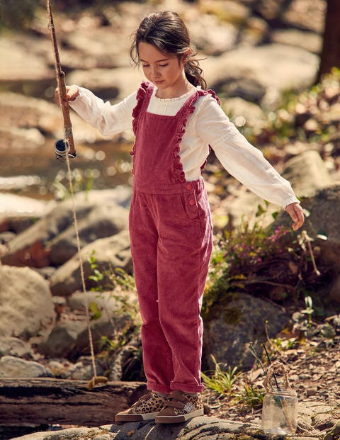 Chunky Cord Frill Dungarees - Bramble Red