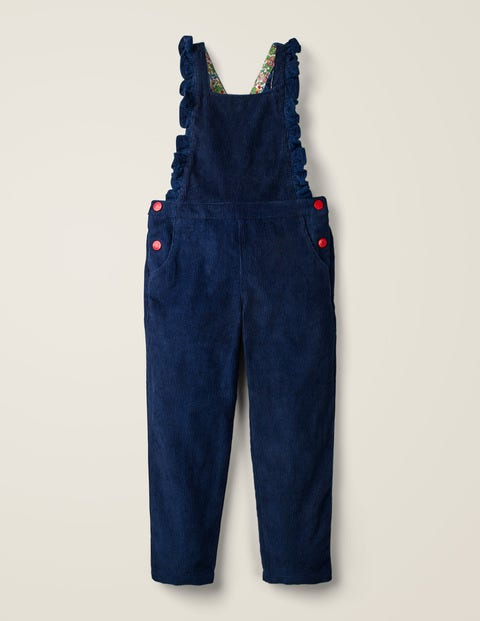 Chunky Cord Frill Overalls - Navy