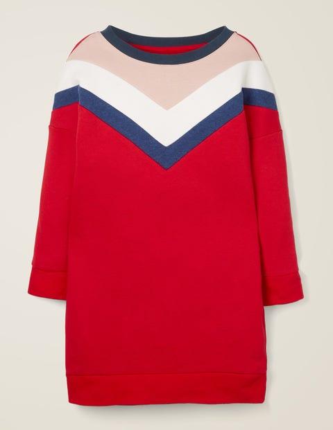Sporty Chevron Jersey Dress - Carmine Red
