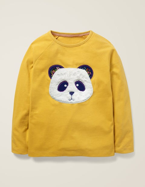 Animal Face T-Shirt - Spicy Mustard Yellow Panda