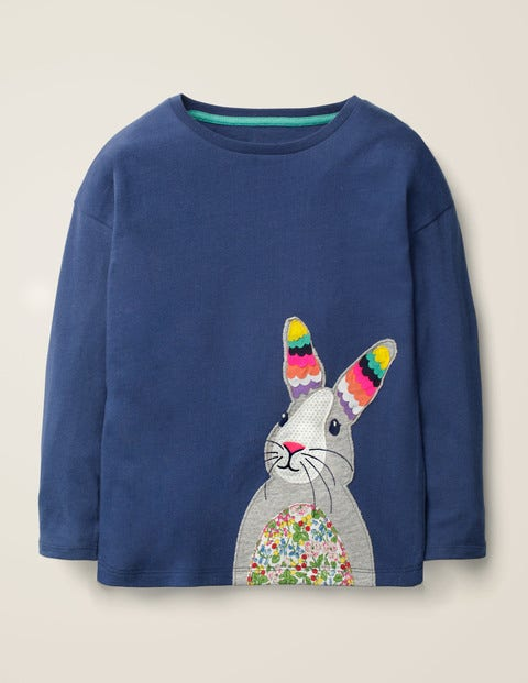 Big Appliqué T-Shirt - College Blue Rabbit
