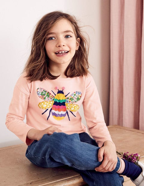 Big Appliqué T-Shirt - Provence Dusty Pink Bee