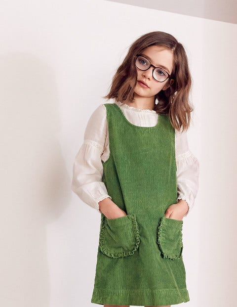 Pocket Cord Pinafore Dress - Willow Green
