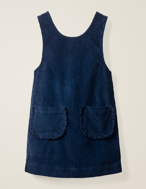 Pocket Cord Pinafore Dress - School Navy