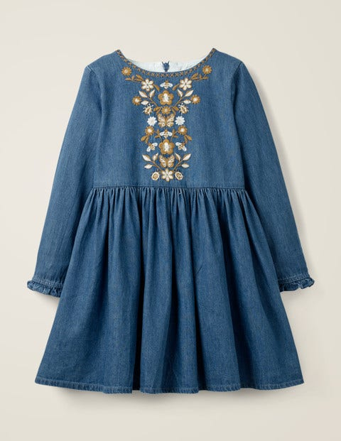 Embroidered Detail Dress - Chambray