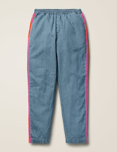 Woven Side Stripe Trousers - Chambray