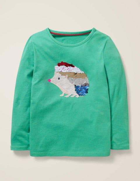 T-Shirt Mit Tierapplikation - Spargelgrün, Igel
