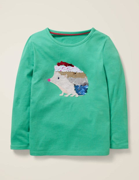 Sequin Animal T-Shirt - Asparagus Green Hedgehog