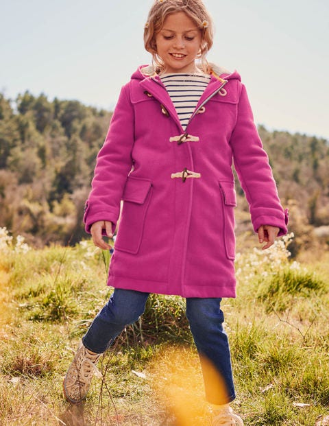 Wool Duffle Coat - Shocking Pink
