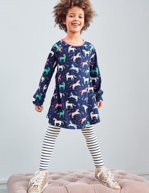 Printed Tunic - College Blue Unicorns