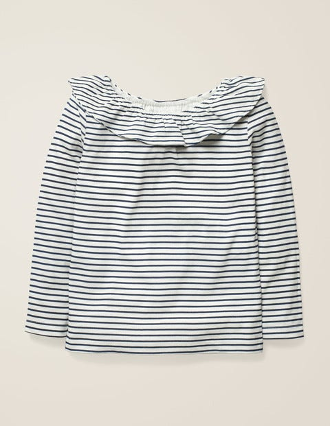 Ruffle Neck Top - Ivory/College Blue