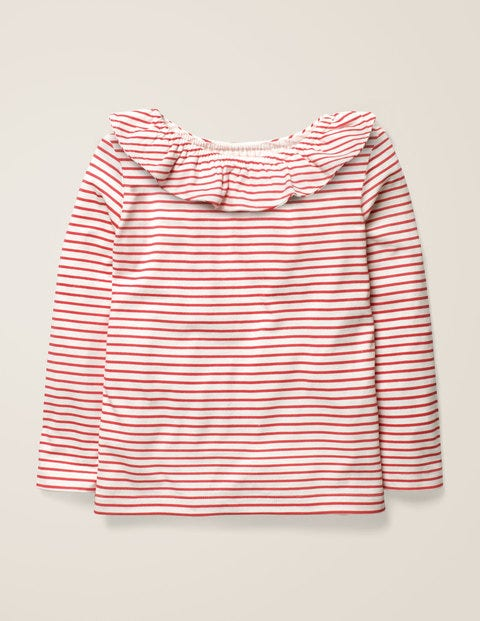 Ruffle Neck Top - Ivory/Carmine Red