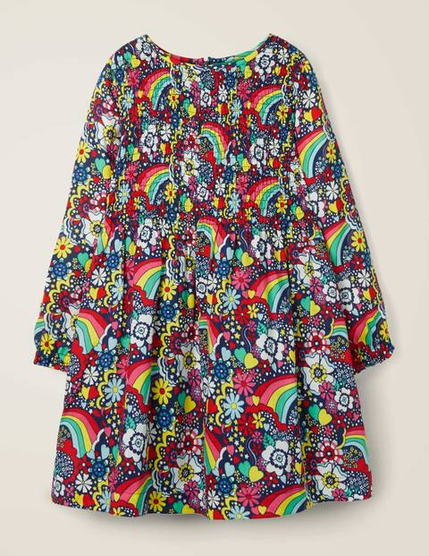 Printed Smock Dress - Multi Sixties Rainbow