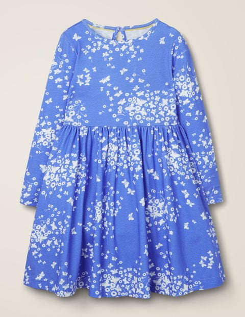 Printed Twirly Jersey Dress - Blue Butterfly Breeze