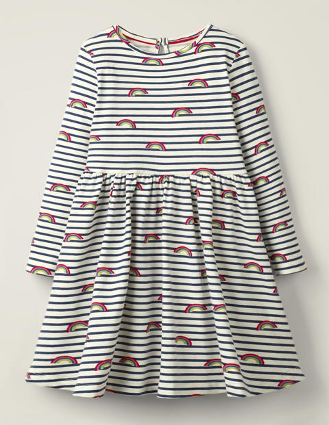 Printed Twirly Jersey Dress - Ivory/College Blue Rainbows