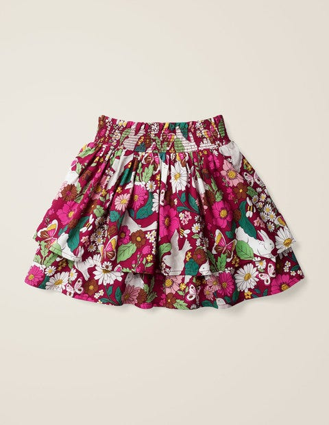 Smocked Woven Skirt - Bramble Pink Florabunda