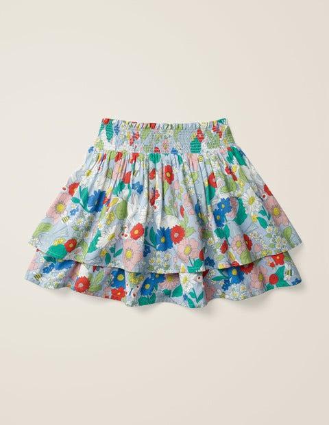 Smocked Woven Skirt - Provence Blue Florabunda