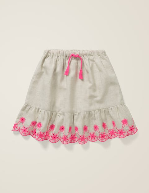 Embroidered Hem Skirt - Grey Marl/Festival Pink
