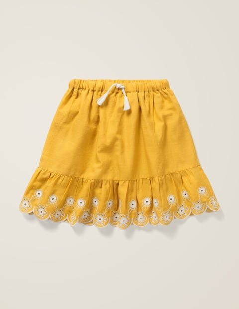 Embroidered Hem Skirt - Mellow Yellow/Ecru
