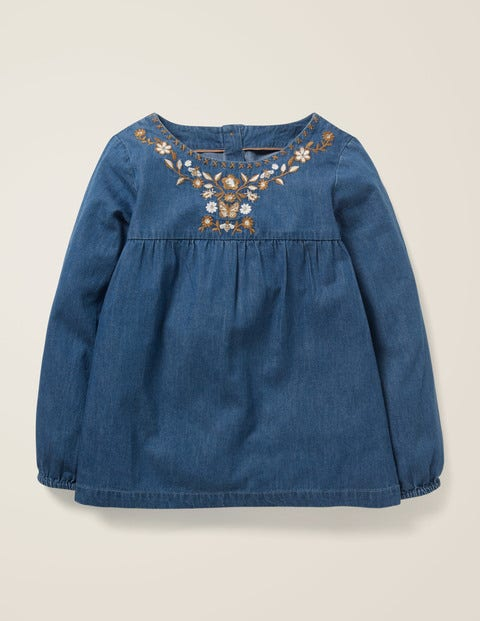 Embroidered Detail Top - Chambray