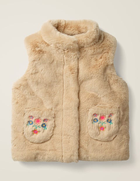 Cosy Embroidered Gilet - Natural