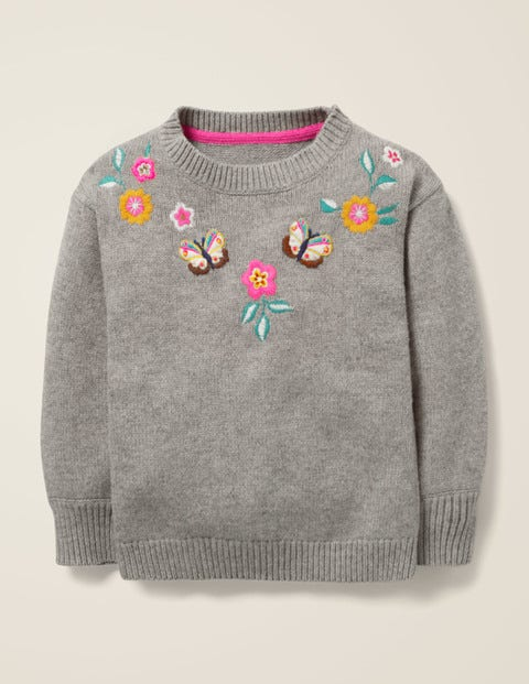 Embroidered Yoke Jumper - Grey Marl