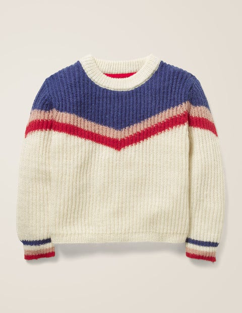 Chevron Stripe Jumper - Ecru Marl