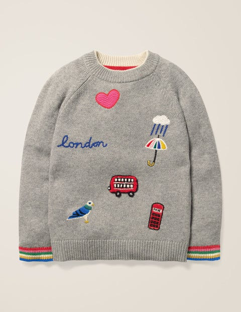 Embroidered Badge Jumper - Grey Marl London