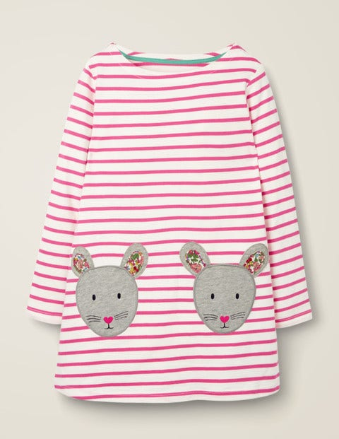 Appliqué Pocket Tunic - Ivory/Pink Sorbet Mice