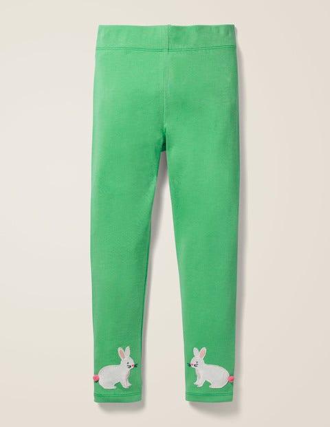 Appliqué Leggings - Asparagus Green Bunny