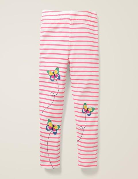 Appliqué Leggings - Pink Sorbet/Ivory Butterflies