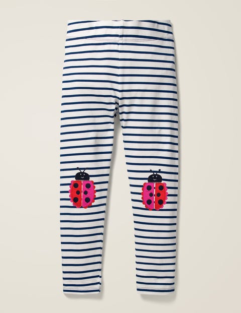 Appliqué Leggings - Ivory/College Blue Ladybirds
