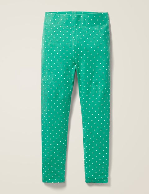 Fun Leggings - Asparagus Green Ivory Pin Spot