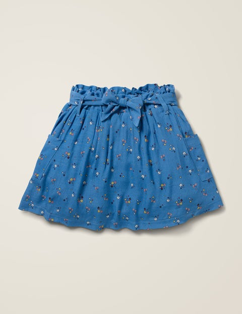 Tie-waist Pocket Skirt - Elizabethan Blue Star Sprig