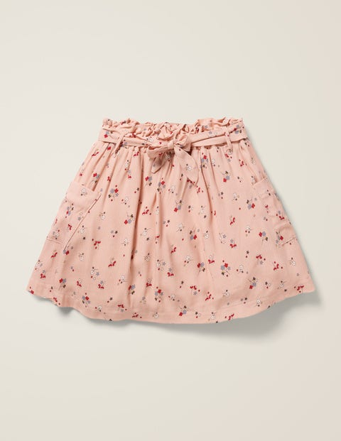 Tie-Waist Pocket Skirt - Provence Dusty Pink Star Sprig