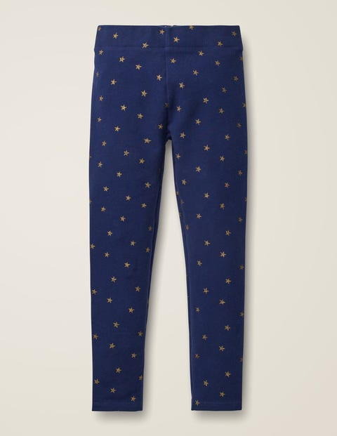 Fun Cosy Leggings - College Blue Gold Stars