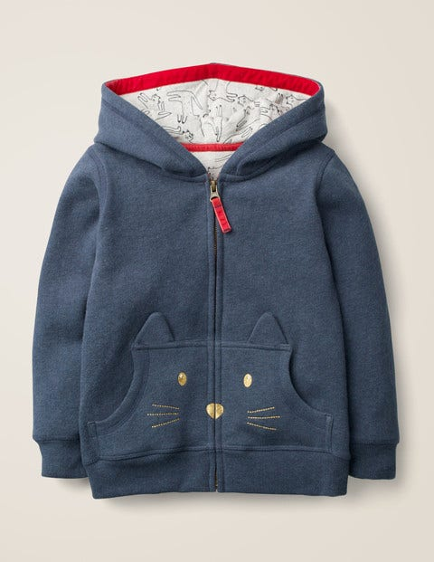 Cosy Cat Hoodie - College Blue Marl Cat