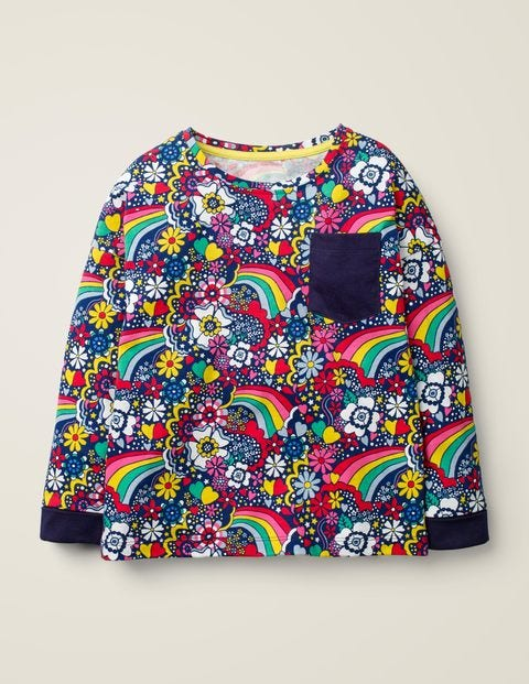 Gemustertes Langarmshirt Mit Tasche - Dunkelblau, Sixties-Blumen, Regenbogen
