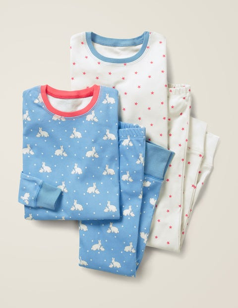 Twin Pack Long John Pajamas - Light Sky Blue Bunnies/Stars