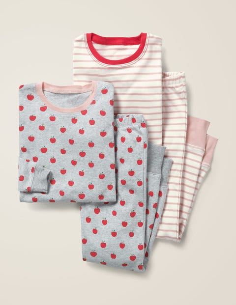 Twin Pack Long John Pyjamas - Grey Marl Apples/Pink Stripe